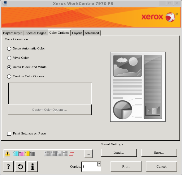 Remember To Choose Black And White Or Color Printing In The Options Tab Of Print Dialog Box