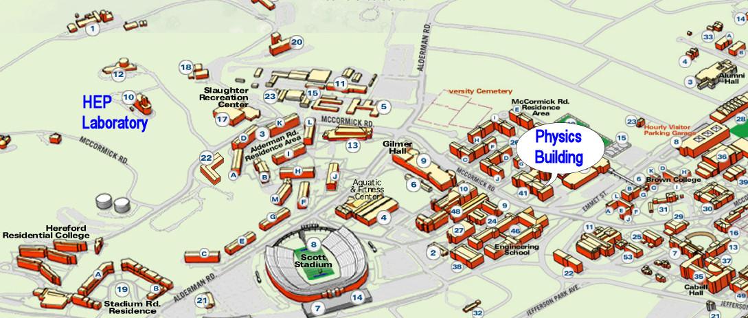 Uva Campus Map Directions the the UVa HEP Lab